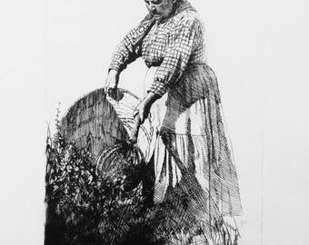 Native American Woman, Harvest time, Intaglio print, Handmade intaglio, Original intaglio, Erik Linton, Western Art, Handmade print