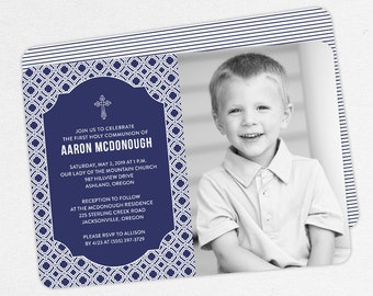 First Communion Invitation, First Holy Communion Invitation, Photo Communion Invitation, DIY Invite, PDF Invitation, Boy Invite, Navy, Aaron