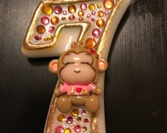 Monkey birthday candle, pink, keepsake candle