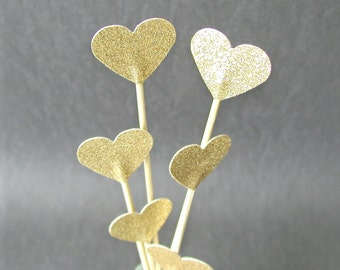 Set of 8 Shimmering Gold Or Silver Hearts Cake Toppers Floral Toppers Four Sizes