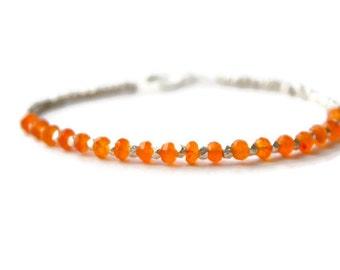 Chakra bracelet, orange Carnelian  bracelet, Silver delicate gemstone  bracelet, Layering bracelet