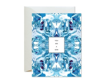 YOU ARE A GEM Blue Deep Purple Tiled Marble Greeting Card / Love / Valentine's Day / Birthday
