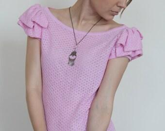 Boho shirt Pink shirt Short sleeve shirt Knit shirt Cotton shirt Boho blouse Short sleeve sweater Pink sweater Women gift Summer sweater