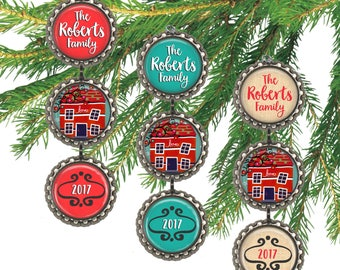 Family Christmas ornament, custom family ornament, whimsical holiday house, personalized home, hostess gift.