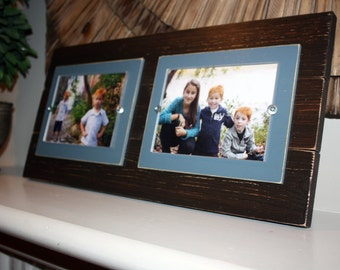 Distressed picture frame, gallery wall, double frame, double 5x7, 5x7 picture frame, wall gallery frames