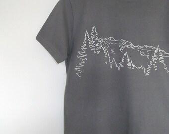 Mens Organic Cotton T Shirt - Mens Graphic Tee - Grey T Shirt - Mountain Ridge TShirt - Organic Cotton Shirt - Screen Print Shirt