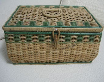 Wicker Sewing Basket, 11x8x6, Vintage