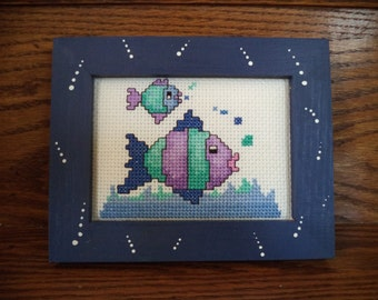 Aqua, purple and blue finished cross stitch fish, custom framed vintage