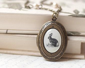 Vintage Bunny locket necklace, Pet gift for her, Antique locket necklace, Rabbit locket, Antique photo necklace, Vintage Photo locket