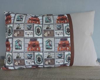 "Cushion cover vintage ""OWL love bag"""