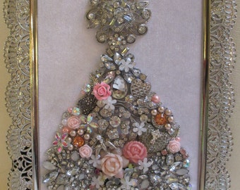 Jeweled Framed Jewelry Art Christmas Tree White Silver Pink Flowers Hearts Roses