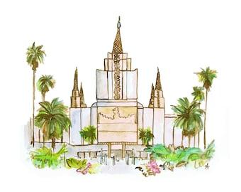Oakland LDS Temple Watercolor Print (DIGITAL)