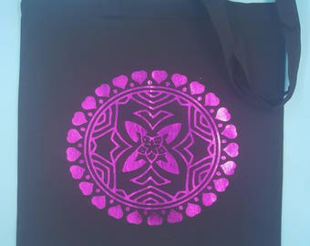 Pink heart mandala tote bag