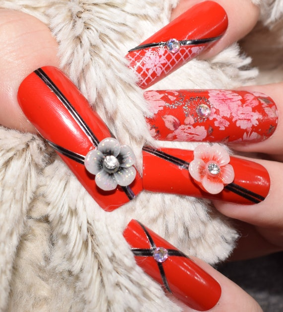 Red Floral Fake Nails, Extra Long False Nails, Hand Painted Press On ...