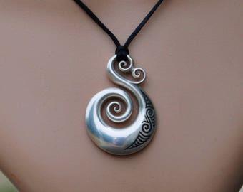 Sterling Silver koru-Solid 925 tribal Pendant on black cord~New Zealand Maori koru love ethnic design