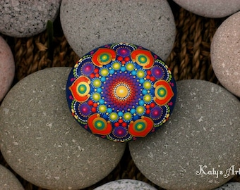 2.8x2.6 inch Hand painted mandala on river rock/mandala stone by Katy