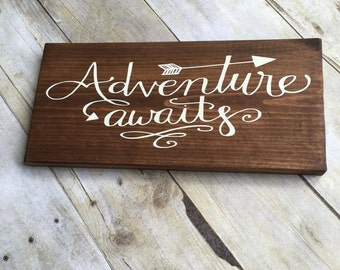 Wood Sign, Adventure Awaits Sign, Travel Wood Sign, Adventure Wood Sign, Gallery Wall, Inspirational Sign, Arrow Wood Sign, Wanderlust Sign