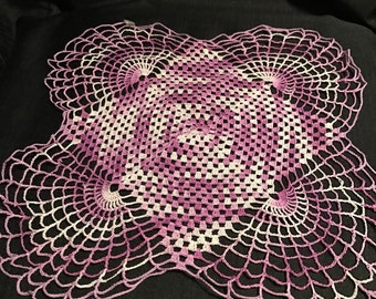 Vintage Crocheted Doily Purple Cottage Chic SALE PRICE was 9.99 now 6.99