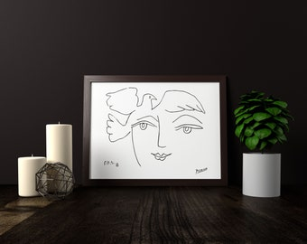 "Pablo Picasso ""Le Visage de la paix"" print poster on paper or canvas up to A0 size / Minimalist Art / Wall Art / Kids Room Decor"