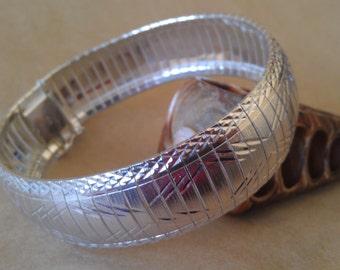 Vintage Shimmering Sterling silver  reticulated Snake Bracelet Cuff