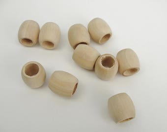 """Wooden barrel bead, 5/8"""" (.625"""") unfinished wood bead choose your quantity"""