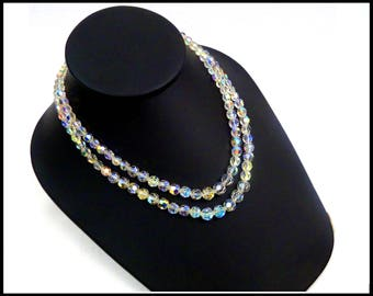 Aurora Borealis Crystal Choker, 2 Strand AB Crystals, Rhinestone Safety Clasp, Bridal Choker, Crystal Necklace Gift for Her