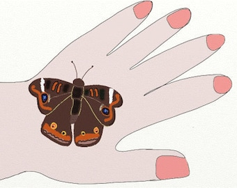 Butterfly Art Notecards (set of 6 folded cards with envelopes in a clear box) - brown butterfly on my hand art print