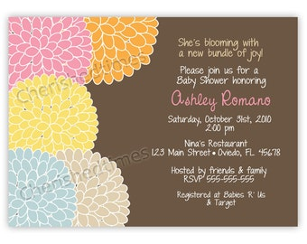 Flower Blossoms Baby/Bridal Shower, Birthday or Any Event Invitation (Digital File In Any Color)