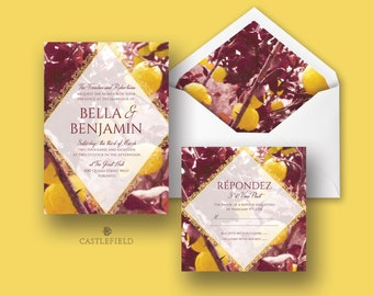 Castlefield Yellow Burgundy Lemon Save the Date Wedding Invitations RSVP Card Menu Envelope Liner Name Place Cards Customized  Printable