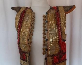 Fantastic Antique Fermla, Tunisian Wedding Vest, Wedding Waistcoat,Gold Bullion Embroidery, Couched Bullion Threads, Tunisia 1900s