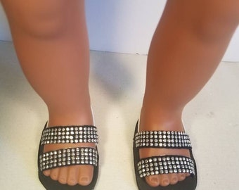 "American Girl Doll Sandals, black sandals for 18""dolls"