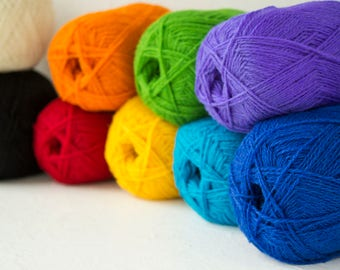 Pure wool yarn for knitting, rainbow colors set of 9 balls