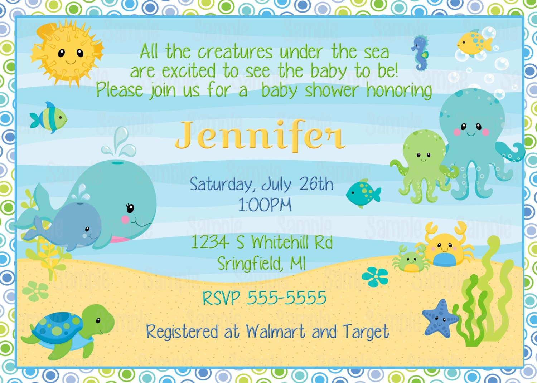 Printable Under the sea baby shower Invitation plus FREE blank