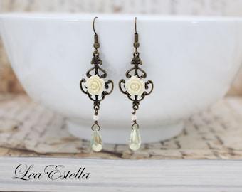 Victorian Earrings Ivory Flower earrings Pale yellow earrings Bridal Floral earrings Edwardian earrings Downton Abbey  - Whimsical Bride