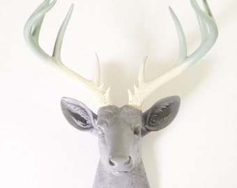 CUSTOM Any 3 colors XL Faux Taxidermy Deer head:  You choose your colors for head and blended/ ombre looking antlers // wall mount hanging