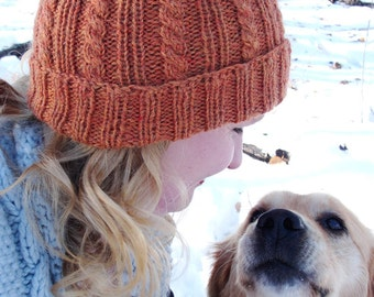 """Instant Download PDF Knitting PATTERN - Men's/Women's/Children's Knit Watchman's/Sailor's hat, Cabled, Classic """"Brennan Hat"""" Beanie"""