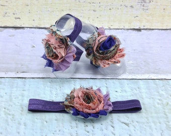 Barefoot Baby Sandals - Baby Barefoot Sandals - Baby Accessories - Baby Shoes - Toe Blooms - Purple and Pink Baby Sandals
