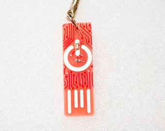 Circuit Board Keychain with Power Symbol - lights up