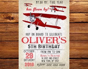 Plane Invitation, Airplane Invitation, Vintage Plane Invitation, Vintage Airplane Invitation, Airplane Party, Birthday 252