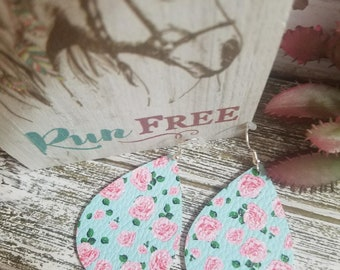 Leather Earrings Floral Print Light Weight