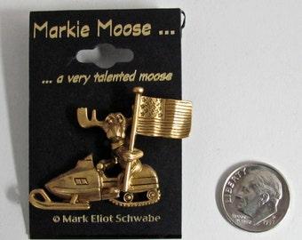 Markie Moose Snowmobile Snow Machine Patriot Flag tac pin gold finish