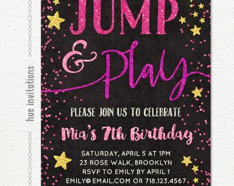 jump party birthday invitation, girls 7th birthday invitation, jump tumble and play jump party trampoline bounce house, pink gold glitter