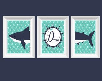 Shark Nursery Decor Personalized Name Turquoise Navy Blue Wall Art Ocean Boy's Room Print of 3-8X10 Kids Room Baby's Room Decor
