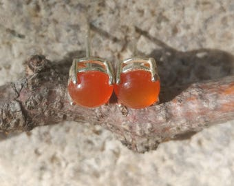 Handmade Carnelian and Sterling Silver Earrings