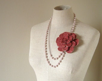 Anthousa Wool Felted Flower long Necklace - Cinnamon and Pink - Romantic - 2 ways to wear it