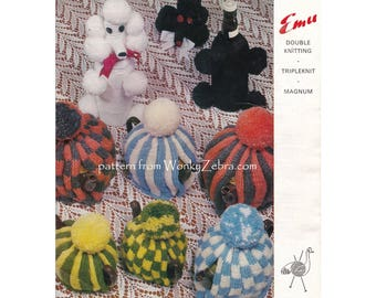 Vintage toy poodle bottle gift bag tea cosy striped plain teacosy teapot traditional kitsch retro cosies Knitting Pattern PDF 904 WonkyZebra