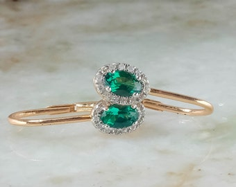 14K Rose Gold Created Emerald & Diamond Accented Lever-Back Dangle Earrings
