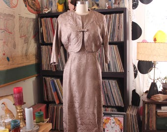 vintage brocade wiggle dress with cropped bolero jacket, 50s 60s dress light mocha brown, A Mendel Creation