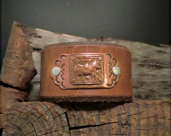 "B1544 SALE ""Strength"" of a Bull-Badge Leather Cuff"