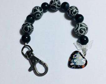Scissor Fob, black glass bead with glass heart Charm, scissor keeper, scissor keychain, scissor keep